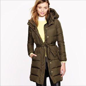J crew long dark green puffer jacket w/hood sz m
